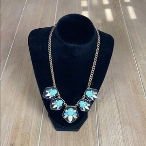 Teal & Blue Jeweled Acrylic J. Crew Necklace